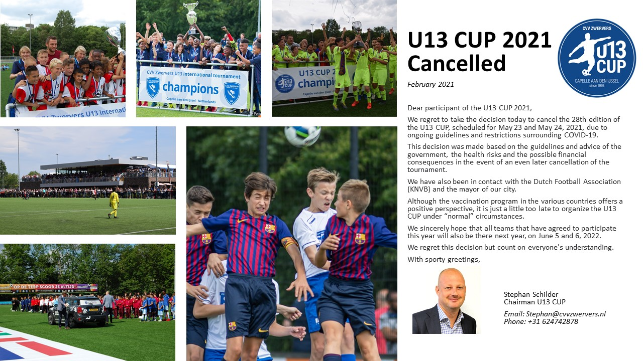 U13 CUP 2021 cancelled