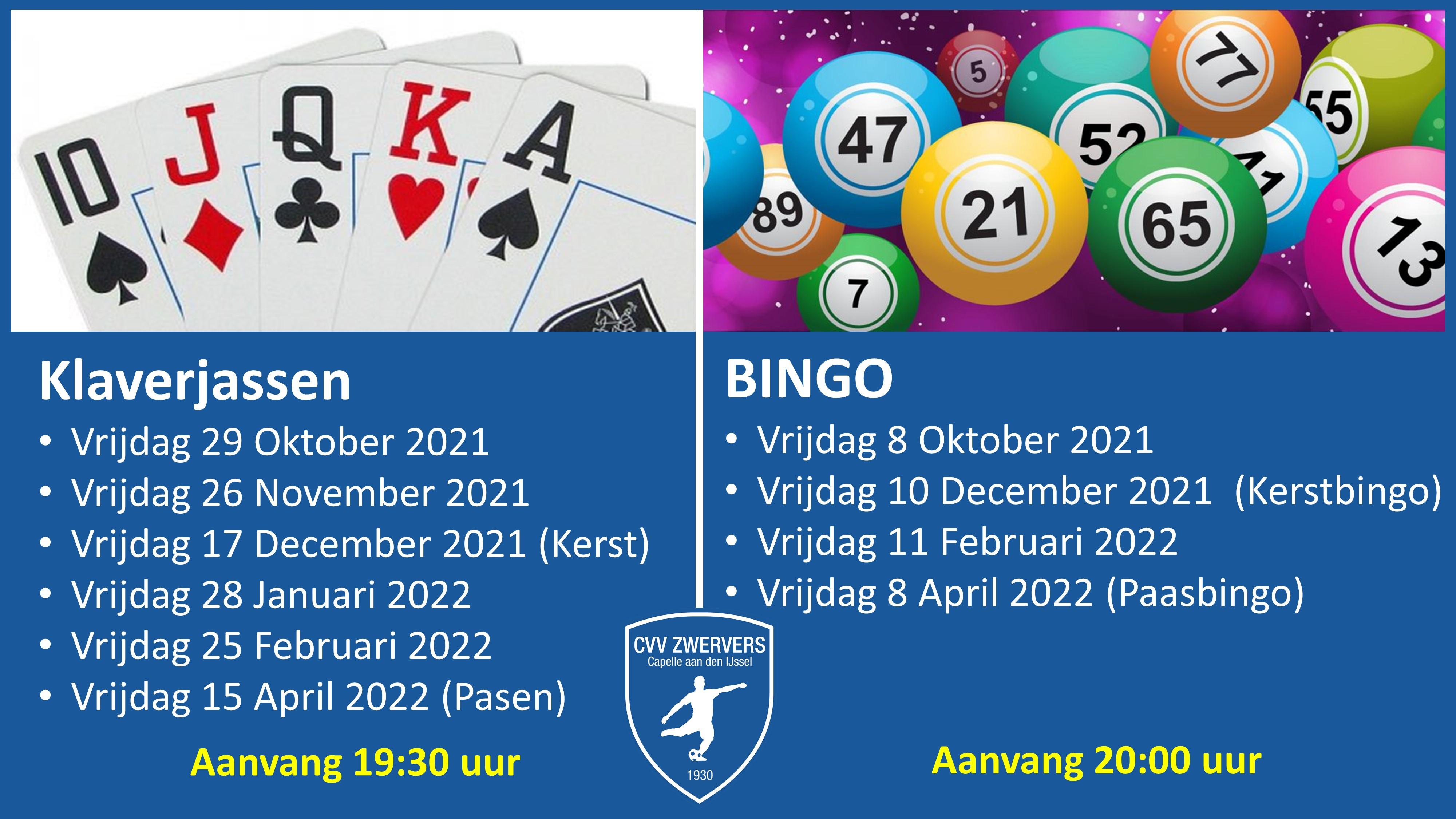 klaverjas en bingo avonden 2021 2022